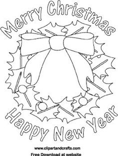 Christmas Wreath Coloring Poster Merry Happy New Year Printable Page With Holly