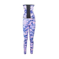 Strapless Camouflage Print Corset and High Waist Leggings (65 AUD) ❤ liked on Polyvore featuring pants, leggings, blue, blue leggings, high waisted skinny pants, high waisted leggings, ankle length leggings and camo pants