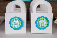 Train Favor Tags Baby Shower - Aqua & Green