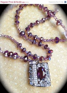 Purple orchid crystal vintage necklace by JNPVintageJewelry