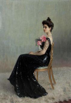 1900-1901 Nikolai Bogdanov-Belsky - Portrait of Princess Maria Abamelek-Lazareva