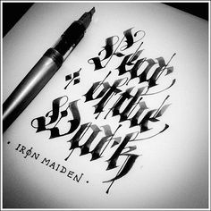 Gothic Calligraphy & Lettering with parallel pens and steel nibs, by Tolga Girgin Gothic Lettering, Types Of Lettering, Lettering Styles, Graffiti Lettering, Lettering Design, Calligraphy Letters, Typography Letters, Caligraphy, Penmanship