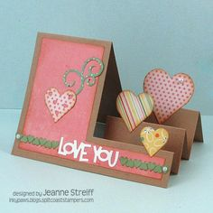 Love You by Jeanne S - Cards and Paper Crafts at Splitcoaststampers Step Cards, Diy Cards, Fancy Fold Cards, Folded Cards, Pop Up Cards, Love Cards, Tarjetas Stampin Up, Side Step Card, Cricut Cards