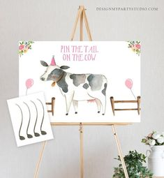Editable Pin the Tail on the Cow Farm Birthday Game Farm Animals Party Animals Decor Barnyard… – Nutztiere Cow Birthday, Farm Animal Birthday, Flamingo Birthday, Birthday Games, 1st Birthday Girls, 2nd Birthday Parties, Birthday Banners, 1st Birthdays, Birthday Invitations