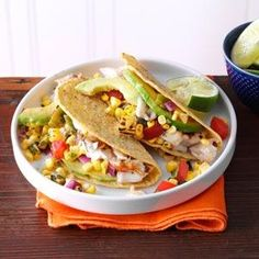 Summer Garden Fish Tacos   I use soft Flour Tortilla Shells for these and use whatever fish my Fish Market has fresh that day----- Tilapia, Cod, Haddock, Catfish, Mahi.  The sweet corn, Poblano & Avocado make these better than the typical fish Taco dripping in Coleslaw and Mayo
