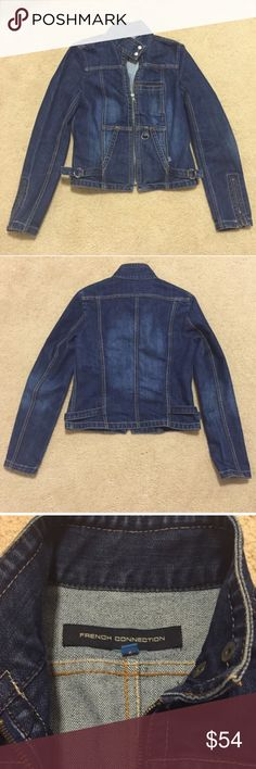 """Like new! French Connection Denim Moto Jacket / 6 Like new! French Connection denim motorcycle jacket in a size 6. Really cute fit, but my arms are too short for this high quality jean jacket (standard 24""""). My loss, your gain. French Connection Jackets & Coats Jean Jackets"""