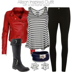 Allison Inspired Outfit with a Red Leather Jacket