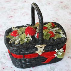 Vintage velvet strawberries and pearl peas wicker purse.