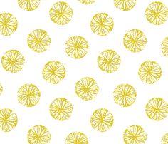 Sunburst - white and citron fabric by jillbyers on Spoonflower - custom fabric