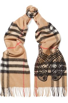 BURBERRY Embroidered checked cashmere scarf  £495.00 https://www.net-a-porter.com/product/869207
