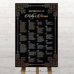 Great Gatsby wedding seating chart list hollywood glam art deco twenties gold black tie wedding inspired theme roaring DIGITAL by HandsInTheAttic Great Gatsby Wedding, Wedding Guest List, Perfect Wedding, 1920s Wedding, Wedding Ideas, Party Wedding, Wedding Signs, Wedding Stuff, Seating Chart Wedding
