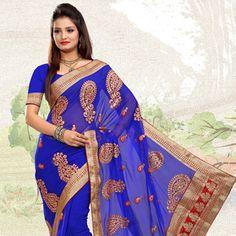 Royal Blue Faux Chiffon Saree with Blouse