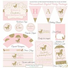 Carousel Birthday Invitation And Matching Party Package Pink And Gold Carousel Package Pink & Gold Party Decorations Gold Carousel Birthday Carousel Birthday Parties, Carousel Party, Circus Birthday, 1st Birthday Girls, Unicorn Birthday, Unicorn Party, 1st Birthday Parties, Horse Party Decorations, Ben Y Holly