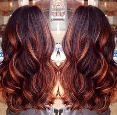 25 Best Hairstyle Ideas For Brown Hair With Highlights: Wavy brown hair with red lowlights and copper highlights