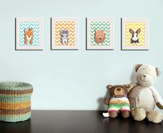 Cute for a woodland or camping-themed room. I might get the fox, the owl, and the bear for Ben's room. Woodland nursery art print 4 chevron prints of forest by Wallfry on Etsy