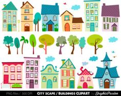 Houses Clip Art Set houses clipart cute houses by dariakonik