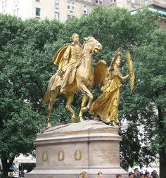 Grand Army Plaza - The plaza's northern half, carved out of the very southeasternmost corner of Central Park, has a golden equestrian statue of William Tecumseh Sherman.