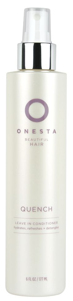 ONESTA QUENCH LEAVE-IN CONDITIONER is a lightweight spray that is great for detangling, smoothing, and controlling frizz while protecting against sun damage! USDA Certified Organic Extracts of Linden and Goldenseal contribute to hair's strength and shine. Orchid extracts act as an antioxidant, while Green Tea, Milk Thistle & Rhatany Root prevent damage from the sun.