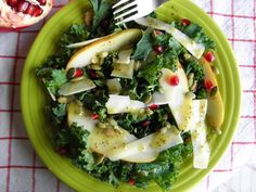 Kale and Pear Salad with an Apple Cider and Chia Dressing. This salad is a nutritional overachiever…and it tastes delicious! :)