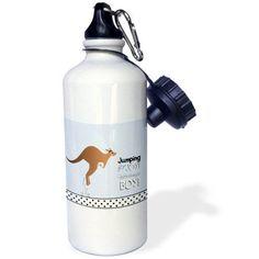 3dRose Jumping for joy having a boy - cute kangaroo blue baby shower pregnancy birth its a boy announcement, Sports Water Bottle, 21oz