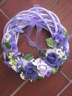 Dekorácie - Fialový veniec-levandula+ruža-ZLAVA - 5618299_