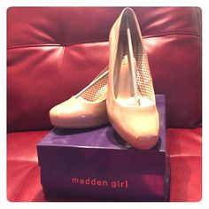 Madden girl patent beige stilettos Worn one time! Perfect condition madden girl beige patent heels. Great to add to any party outfit. Madden Girl Shoes Heels