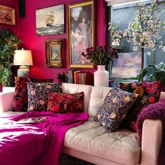 Great things can happen when you're not afraid to take chances! Bold magenta w. - Great things can happen when you're not afraid to take chances! Bold magenta w… Great things can happen when you're not afraid to take chances! Bold magenta w… Living Room Decor, Living Spaces, Bedroom Decor, Magenta Walls, Maximalist Interior, Home Decor Inspiration, Design Inspiration, Colorful Interiors, Home And Living