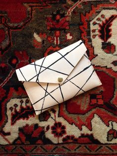 Hand Painted Leather Envelope Clutch Unlined by HattonHenry