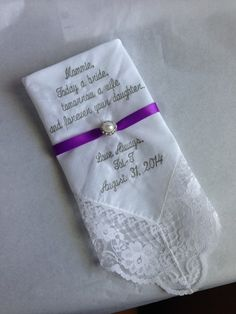 Custom Embroidered Wedding Hankie by SmoothStitchesDesign on Etsy