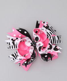 Pink & Black Zebra Bow