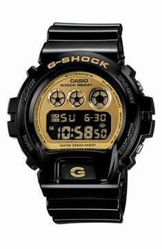 Casio 'G-Shock Mirror Metallic' Digital Watch | Gshock is about the most durable product I've ever owned.  My first one I got for my 18th bday in NYC and it had a lil break dancer in it.  I dig this black n gold one.