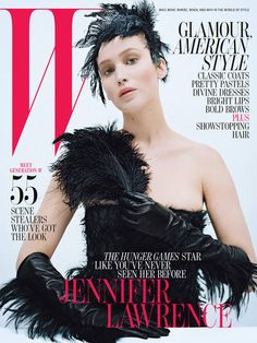 Jennifer Lawrence in ostrich feathers for W