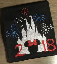 Disney Shirt, castle, minnie, Magic Kingdom, fireworks, 4th of july, USA, Glitter, Trip, Vacation, Kids, Mens, Ladies, Womens, Plus Size