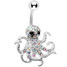 Aurora Gem Encrusted Floating Octopus Belly Button Ring. I don't have a belly button piercing, but if I did I would definitely have this.