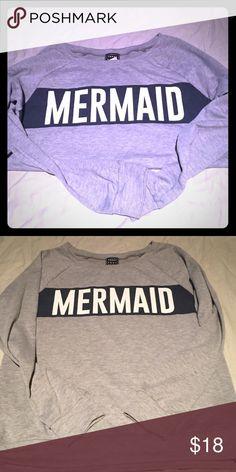 Cute Mermaid Sweatshirt Gray Mermaid sweatshirt. Great condition Young Roma  Tops Sweatshirts & Hoodies