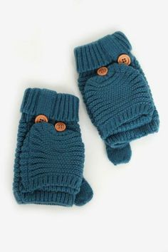 Knit Harper Mittens in Teal $16