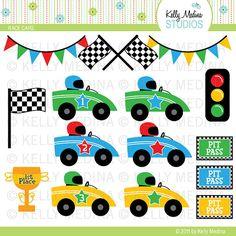 Carrera coches - Clip Art - Digital elementos comerciales uso para tarjetas, papelería y artesanías de papel y productos