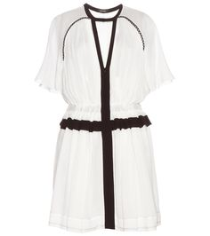 Isabel Marant - Retra cotton dress - Isabel Marant's 'Retra' dress is cut from layered white crepe and is accentuated with a contrasting black scalloped trim, which frames a cut-out detail and emphasises elegant proportions. A softly pleated bodice and an elasticated waist ensure a womanly shape. Lift with heels or pare it down with flat ankle boots. seen @ www.mytheresa.com