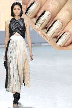 Need some festive nail art inspiration? Miss Ladyfinger has got you covered. Recreate this look with 'sand tropez,' 'no place like chrome,' 'hors d'oeuvres,' and 'licorice.'