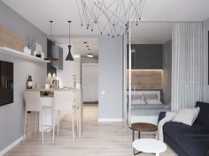 Ulsan Interior Design Company / One Room Interior and Small Apartment I hate the obvious interior! Condo Interior Design, Small Apartment Interior, Studio Apartment Design, Small Apartment Design, Condo Design, Studio Apartment Decorating, Apartment Layout, House Design, Room Interior