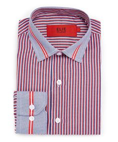 Red & Blue Stripe Button-Up - Toddler & Boys