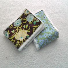 Purple Blue & Green Flowers Burp Cloths set by Sewingdreamsnotions, $9.00