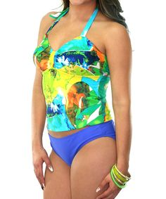 Green & Blue Abstract Tankini Top & Bottoms