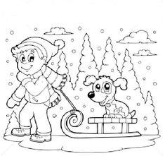 Fise de lucru - gradinita: IMAGINI de colorat - JOCURILE copiilor iarna