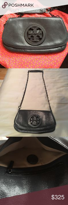 Tory Burch Dark Gray Crossbody Bag Worn once in mint condition!! Beautiful dark gray color with shimmer and pewter hardware. Very versatile cute for dressing up or down ! Tory Burch Bags Crossbody Bags