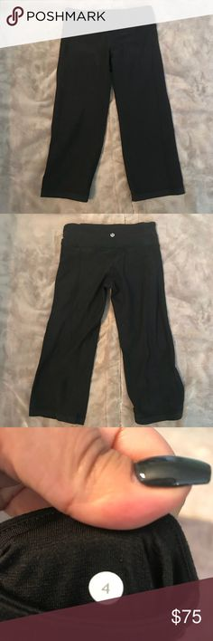 Lululemon Solid black cropped leggings In great pre loved condition no rips stains or tears lululemon athletica Pants Track Pants & Joggers