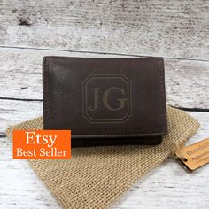 New Absolutely Free Tri Fold Personalized Mans Wallet - Gifts for Men - Groomsmen Gift - Husband- Grandfather- Leather - Monogrammed - Christmas Style presents for men who have every thing,gifts for men diy Xmas presents for guys,leather presents for