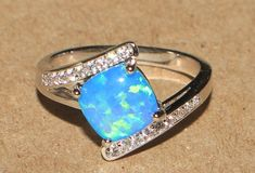 blue fire opal Cz ring Gemstone silver jewelry Sz 6.75 cocktail engagement B8SE #Unbranded #Cocktail