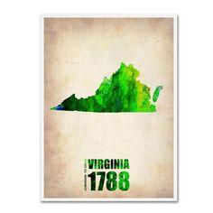 Naxart 'Virginia Watercolor Map' Art