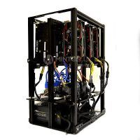 FLOW 6.1 GPU Mining Rig Open Air Frame Case Chassis with 6 USB Risers - Ethereum